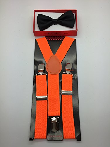 [New 2014 Fashion Style Boys Girls Child Black Bow Tie Neon Orange Suspender Y Clips] (Costumes Braces)