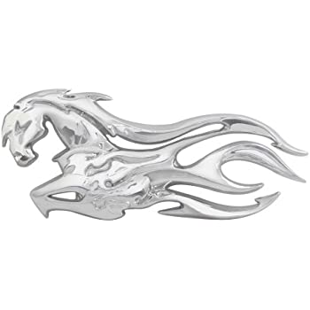 Chrome Plastic Flaming Skull Accent Facing Left Universal Fit