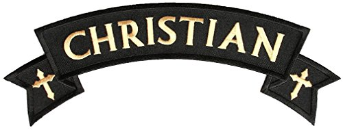 stian With Crosses Embroidered Rocker Biker Patch-Gold-Large ()