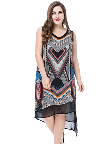 Chicwe Women's Plus Size Sleeveless Multi Layer Dress 26, Black Multi