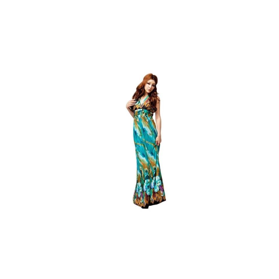 Bohemian V Shape Long Beach Maxi Dress With Floral Print   Medium   Purple