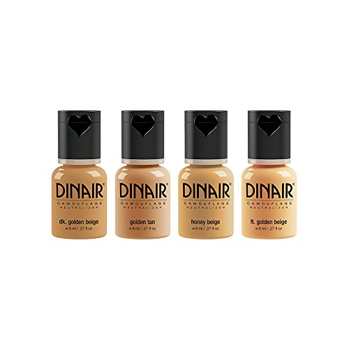 Dinair Airbrush Makeup Foundation 4pc Camouflage Neutralizer Set Medium Shades Covers Scars, Acne, Tattoos, Under Eye Circles, Sun Spots, Vitiligo
