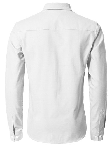 H2H Men's Solid Color 100% Cotton Oxford Long Sleeve Button Down Casual Shirt White US L/Asia XL (KMTSTL0521) by H2H (Image #3)