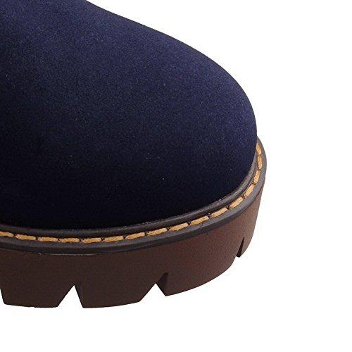 AllhqFashion Mujeres Cremallera Puntera Redonda Tacón Medio Gamuza(Imitado) Caña Alta Botas Azul