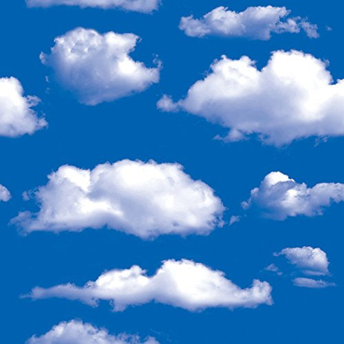 - Blue Sky Clouds Pattern Contact Paper Self Adhersive Vinyl Removable Wallpaper Kitchen Backsplash Accent Wall Art Crafts Decor 17.7x117 Inch