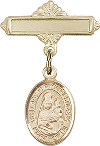 14kt Gold Baby Badge with O/L of Prompt Succor Charm and Polished Badge Pin O/L of Prompt Succor is the Patron Saint of New Orleans, LA 1 X 5/8 ()