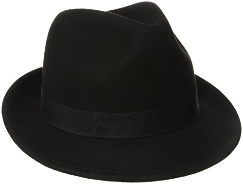 Black Felt Fedora - Dorfman Pacific Men's Wool Felt Snap Brim Hat, Black, X-Large