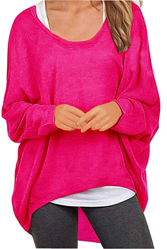 UGET Women's Sweater Casual Oversized Baggy Off-Shoulder Shirts Batwing Sleeve Pullover Shirts Tops Asia L Rose Red