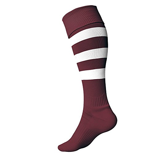 Hoop Rugby - Rugby Imports Performance Rugby Socks Hoops (Large, Maroon/White)