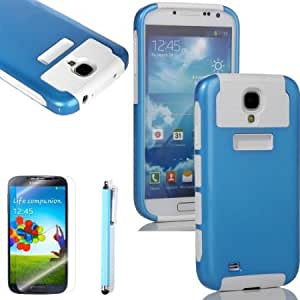 Viesrod Lumsing(TM) 2-Piece Blue Hybrid High Impact Case White Soft Silicone For Samsung Galaxy S4 IV i9500 with Screen...