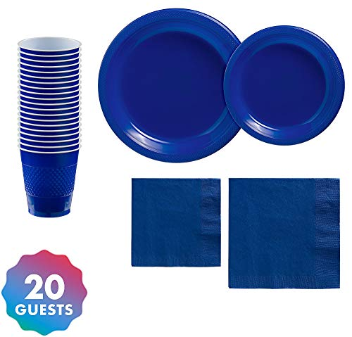 Party City Solid Royal Blue Premium Plastic Tableware Supplies for 20 Guests, Include Plastic Plates, Napkins, and Cups