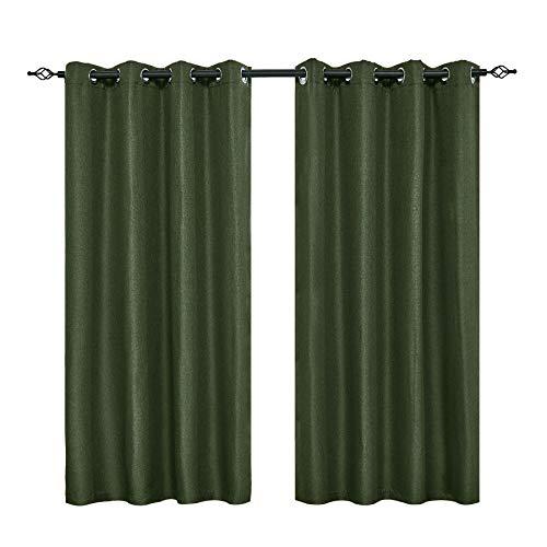 "DyFun 2 Panels Curtains Linen Thermal Insulated Window Treatment Grommet Top Blackout Window Curtains/Drapes (52""×63"", Dark Green)"