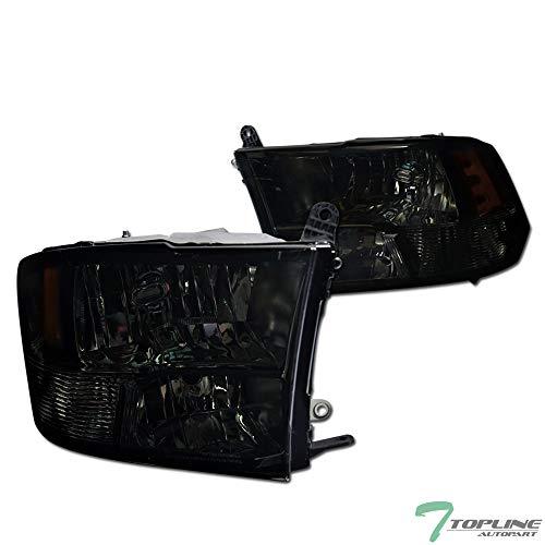 Topline Autopart Smoke Housing Crystal Quad Headlights Signal Amber NB For 09-19 Dodge Ram 1500/2500 / 3500 ()