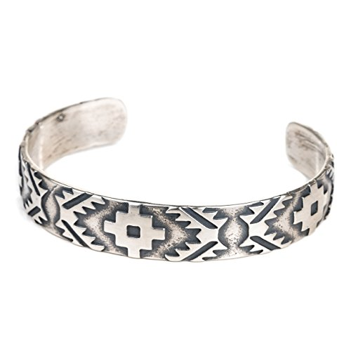 Turquoise Skies Tskies: Sterling Silver Bracelet for Women Authentic Navajo Rug Cuff Design 100% American Made Jewelry ()