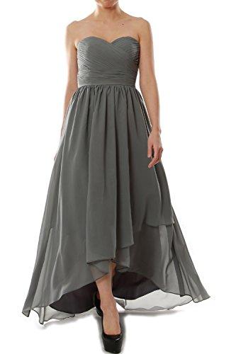 MACloth Women Strapless Chiffon Hi Lo Bridesmaid Dress Wedding Party Formal Gown Gris