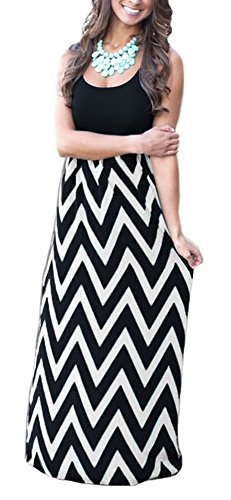 (Demetory Women`s Bohemian Chevron Zig Zag Sleeveless Wave Striped Maxi Dress (Small, Black) )