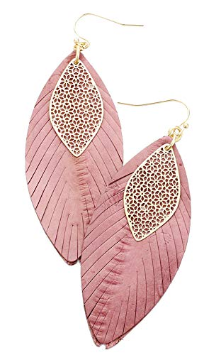 Deep Pink and Gold Filigree Leaf Genuine Leather Earrings, 1.25