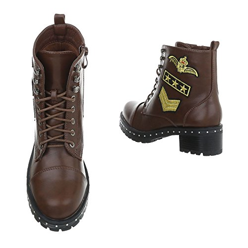 Women's Boots Block Heel Lace-Up Ankle Boots at Ital-Design Brown 77-5 Jkq0P