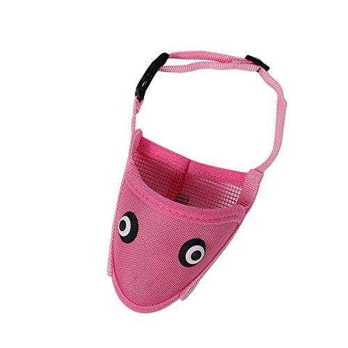 Hypeety Dog Puppy muzzle Cartoon Dog Mask Adjustable Mouth Nylon Muzzles Versatile Anti Biting Barking Chewing Small Medium Large (L, Pink)