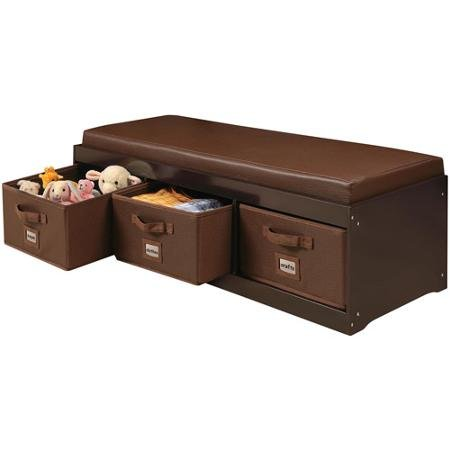 Genius! This Beautiful Kids Leather Style Padded Bench with 3 Large Storage Drawers in Espresso Color Adds Elegance While Helping Your Child to Stay Tidy!