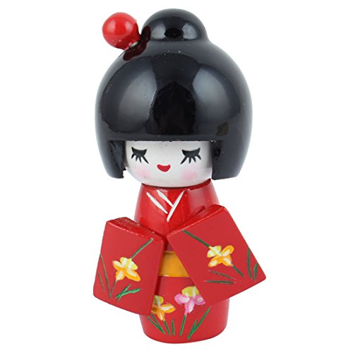 uxcell® Floral Japanese Kimono Smiling Girl Wooden Kokeshi Doll Toy (Japanese Toy Dolls)