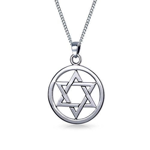 Magen Jewish Circle Disc Open Hanukkah Star Of David Pendant Necklace For Women 925 Sterling Silver 16 Inch