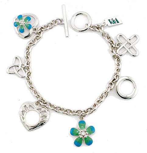Inspired Treasures Morris Heart & Flower Charm Bracelet - Swarovski Crystal - Licensed by V&A Victoria and Albert Museum, London