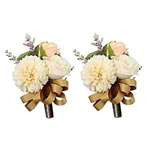 USIX 2pc Pack-Handmade Men's Lapel Artificial Rose Dahlia Flower Boutonniere Pin for Suit Wedding Groom Groomsmen Brooch Rose Boutonniere (Gold Boutonniere x2) 54