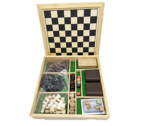 Deluxe 7 in 1 Board Game Set - Chess Set, Checkers, Backgammon, Dominoes, Playing Cards, Poker Dices and Cribbage