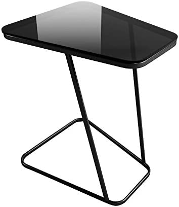 Creatwo C-Shape End Small Glass Top Side Computer Tray Table for Sofa Living Room Bedroom, Black