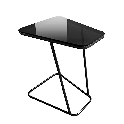 Creatwo C-Shape End Table Small Glass Top Side Table Computer Tray Table for Sofa/Living Room/Bedroom, Black