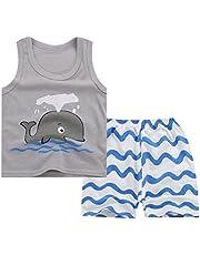 Odziezet Camiseta Bebé Verano Niño Niña Chaleco Camiseta sin Mangas + Shorts Conjuntos 2 Piezas Algodón Verano 6 Meses - 5 años