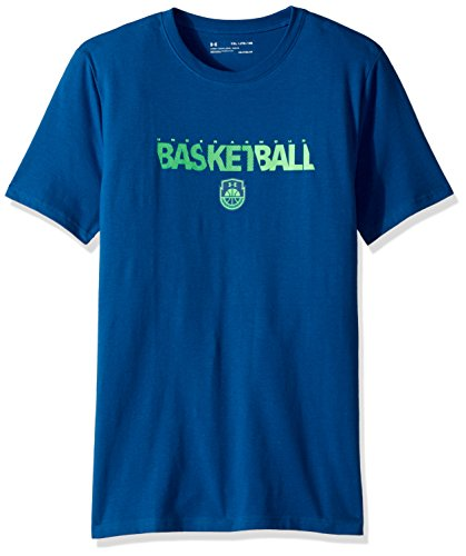 Wordmark Tee Blue Youth - Under Armour Boys' Basketball Wordmark T-Shirt, Moroccan Blue (487)/Arena Green, Youth X-Small
