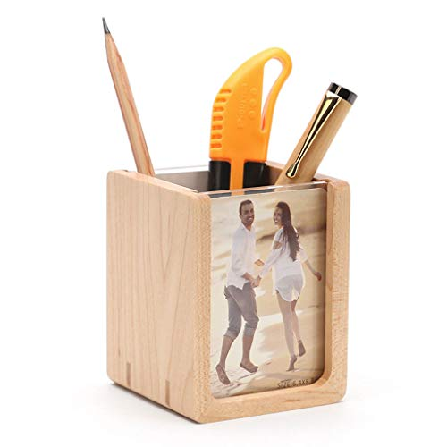 (Solid Wood Multi-Function Pen Holder Handmade Creative Stationery Ornaments Wooden Office Supplies Pen Holder with DIY Photo Frame)