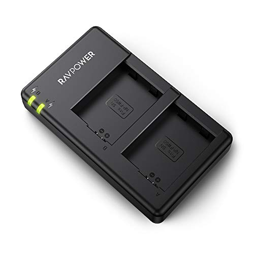NP-FW50 Ravpower Dual Slot Battery Charger Compatible with Sony NP FW50 Batteries for A6000, A6500, A6300, A6400, A7, A7II, A7RII, A7SII, A7S, A7S2, A7R, A7R2, A55, A5100, RX10 Camera and More (Sony Camera Batteries)
