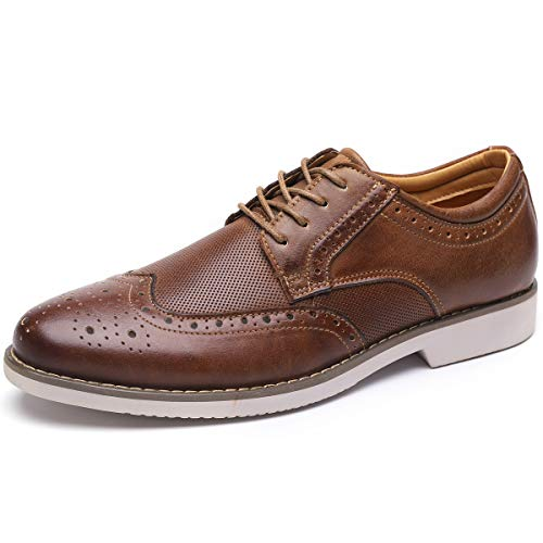Lace Up Wingtip - Men's Dress Shoes Wingtip Leather Oxford Lace Up Brogue Brown 9 M US