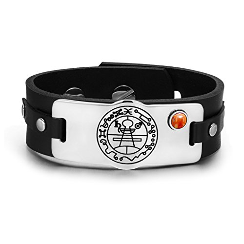 Secret Seal of Solomon Protection Magic Powers Amulet Red Jasper Gemstone Adjustable Leather Bracelet