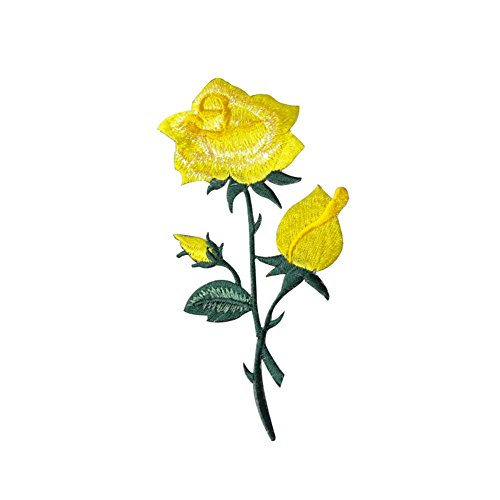 XUNHUI Yellow Rose Flower Vines Embroidery Applique Patch Clothes Decorate Flower Patch Iron on Applique Flower Applique Patch 1 Piece 2