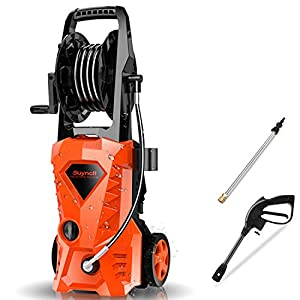 Suyncll Pressure Washer 3000PSI Electric Power Washer with Hose Reel and Brush,High Pressure Washer for Driveway Fence…