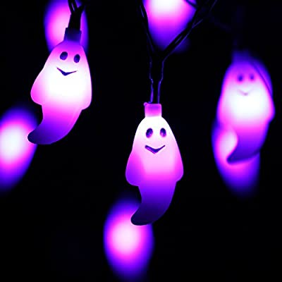 RECESKY Purple Ghost String Lights - 20 LED 7.9ft Battery Operated Halloween String Lights for Halloween Party Decor, Halloween Decoration, Halloween Lighting, Indoor, Holiday, Home