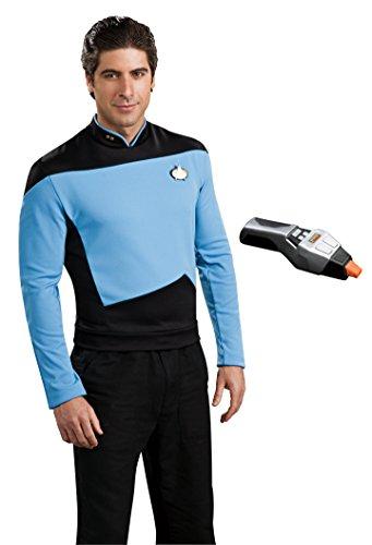 Rubie's Men's Star Trek TNG Deluxe Science Uniform Costume & Phaser, Blue, X-Large (Star Trek Voyager Costume)