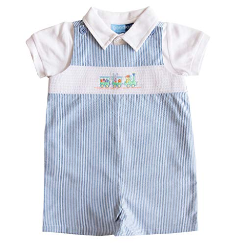 Good Lad Newborn/Infant Boys Blue Seersucker Smocked Shortall Set with Bunny Embroideries (24M) ()