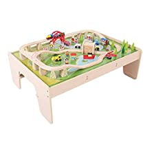 Bigjigs Rail Services Train Set and Table - Other Major Wooden Rail Brands are Compatible