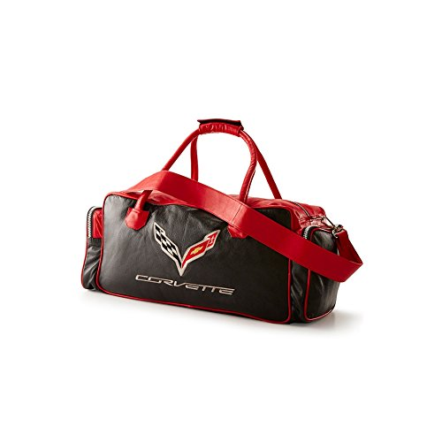 Corvette C7 Leather Duffel Bag with C7 Crossed Flags Logo (Black and Red) ()