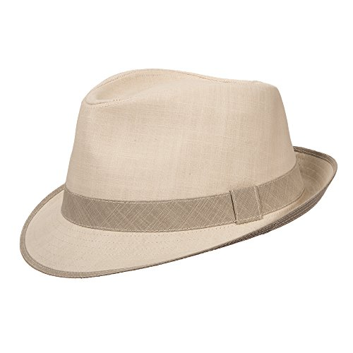 Stetson Cotton Fedora with Contrast Trim Hat (XL, Natural) - Trim Fedora