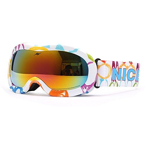 SE7VEN Lunettes De Ski Extérieur,Double Couche Anti-buée Jeunesse Enfants Snowboard Goggle Sphériques Bonne Vision Claire Otg O