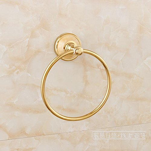 ZnzbztCu all natural jade toilet Towel Ring bathroom towel rack mount hardware piece of gold towel Towel Ring, light luxury Wong Yuk)