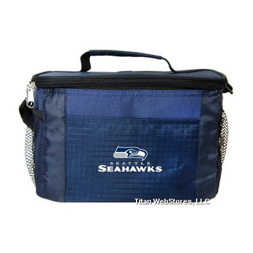 NFL Football Tailgating 6 Pack Cooler - Lunch Box Cooler (Seahawks) (Seahawks Seattle Lunch)