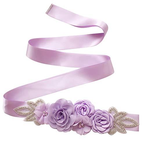 Spmor Women's Bridal Wedding Dress Rhinestone Sash Maternity Sash Belt Flower Baby Girl Sash Belt,Light Purple