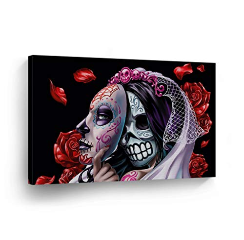 Day of The Dead Candy Skull Bride with Mask Red Roses Canvas Print Sugar Skull Decor Wall Art Home Decor Stretched and Ready to Hang-%100 Handmade in The USA - (Contemporary Dance Costume Catalogs)
